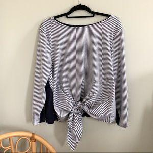 Lane Bryant 18/20 Blue Striped Scoop Neck blouse